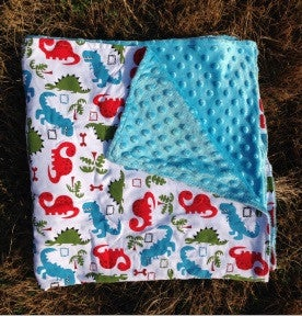 Image of Multi-Color Dinosaur Blanket with Blue Minky, Baby Boy Blanket