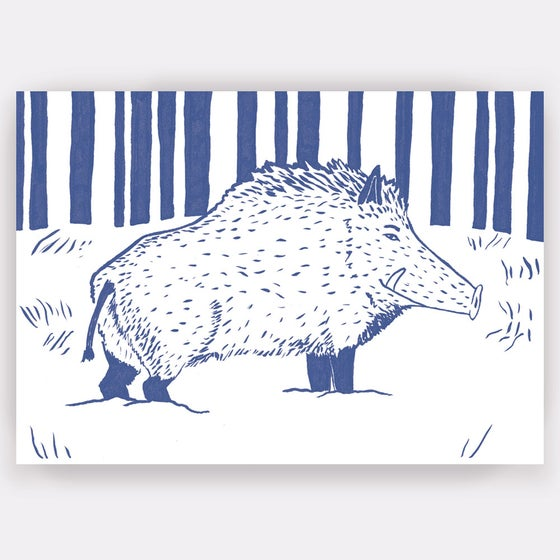 Image of Wild Boar Greetings Card