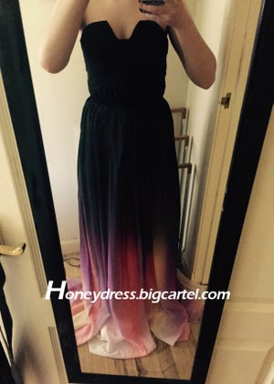 Image of Fashion Chiffon Strapless Prom Dress Celebrity Dress with Pleats