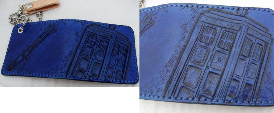 Image of Custom Hand Tooled Leather Bifold Wallet. Your image/design or idea. Chain Wallet.
