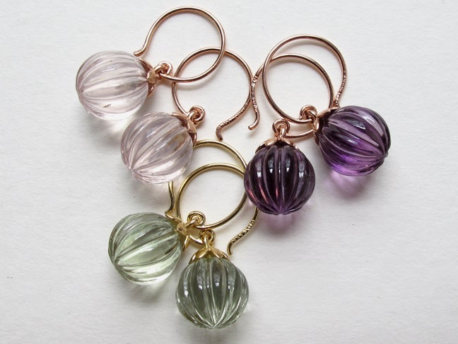 Image of Lotus Fluted Gemstone Earrings Amethyst, Prasiolite, Rose Quartz
