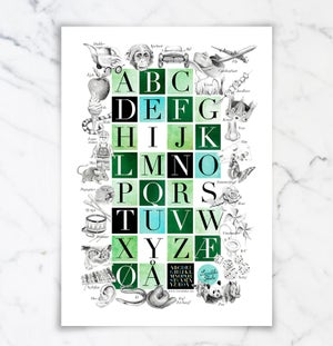 Image of Alfabetplakat - Fem fargealternativer!