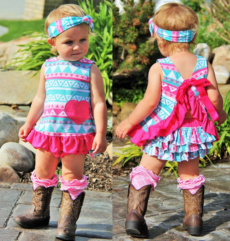 Image of Teal Turquoise & Hot Pink Aztec Swing Top Set and Ruffle Bloomers