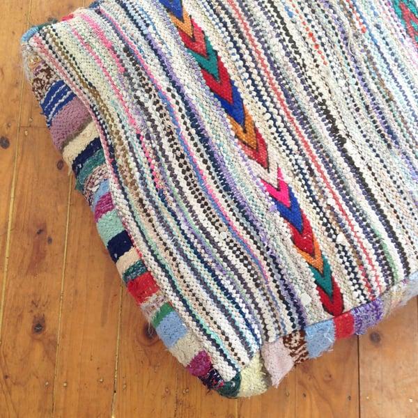 Image of Moroccan vintage kilim ottoman > stripes
