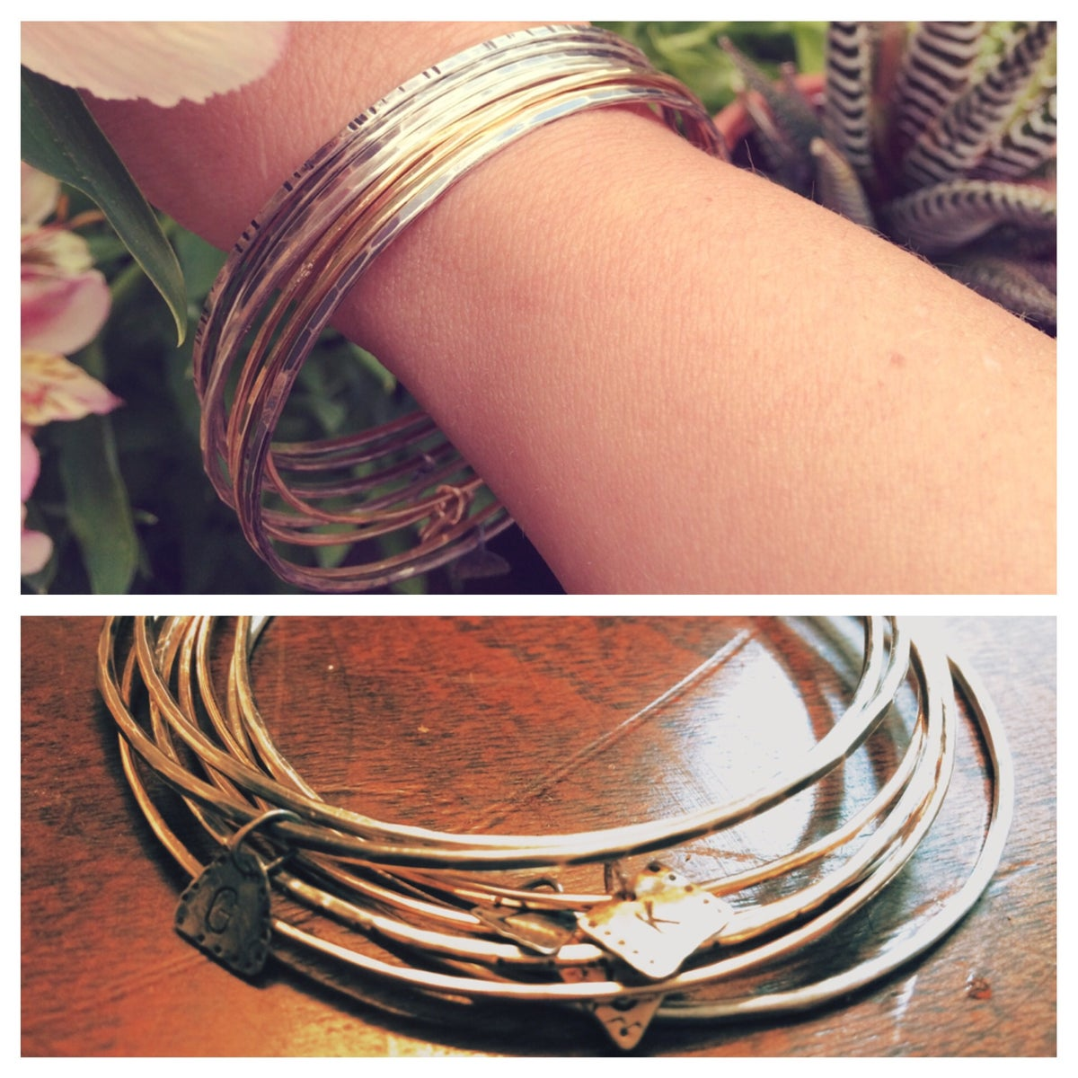 Image of Sterling Silver and 14k Gold Bangles w/ custom Monogram Charm