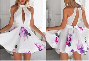 Image of Dew chest posed printed sexy v-neck backless dress