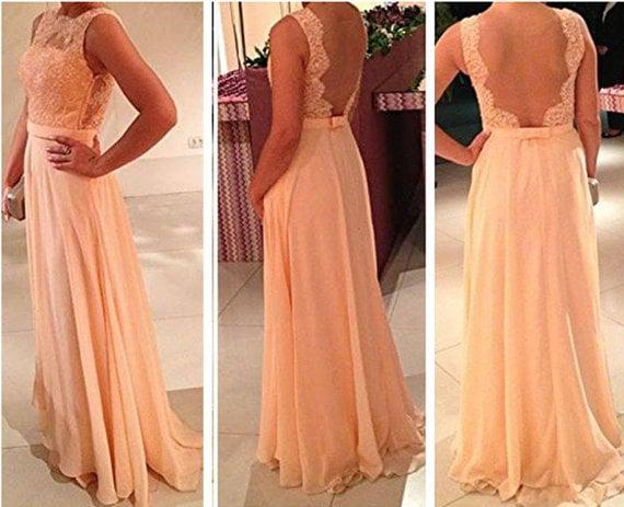 Honey dress u formal chiffon sheer back prom dress with lace appliques