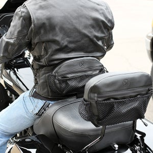Image of The Bone® DOUBLE IMPACT Pocket (for Driver) Backrest» '09-'19 MUSTANG and H-D models MFG#681154
