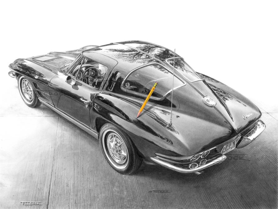 "Image of ""1963 Corvette Sting Ray"" Signed & Numbered 20x24 Giclee' Print"