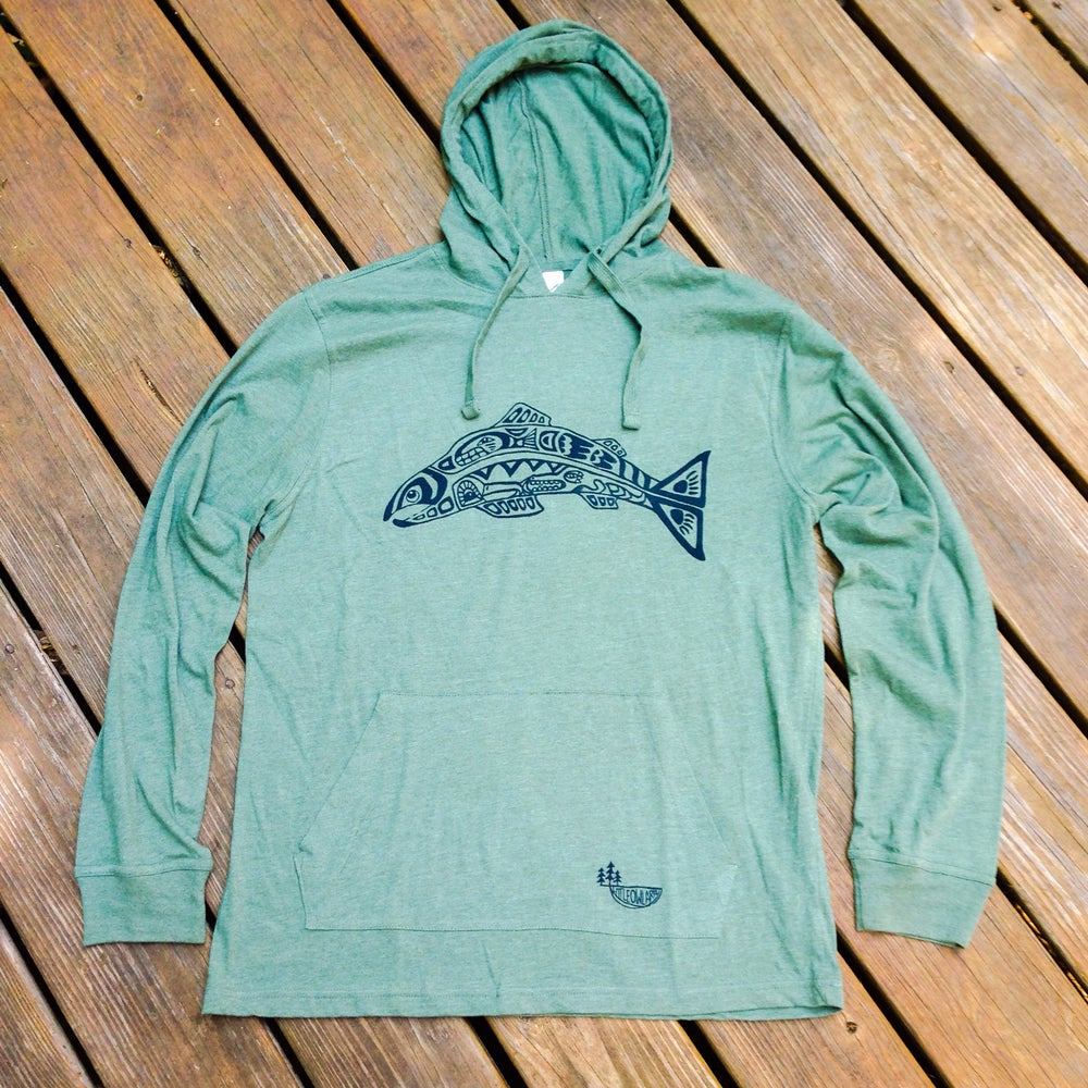 Image of +Salmon Spirit+ Unisex organic cotton hoodie