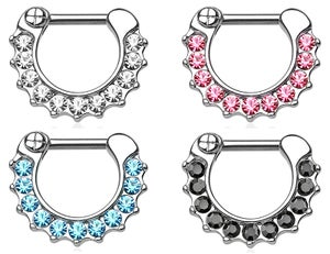 Image of Septum Clicker 1.2mm - 11 Claw Set Gems - 4 Colours Available