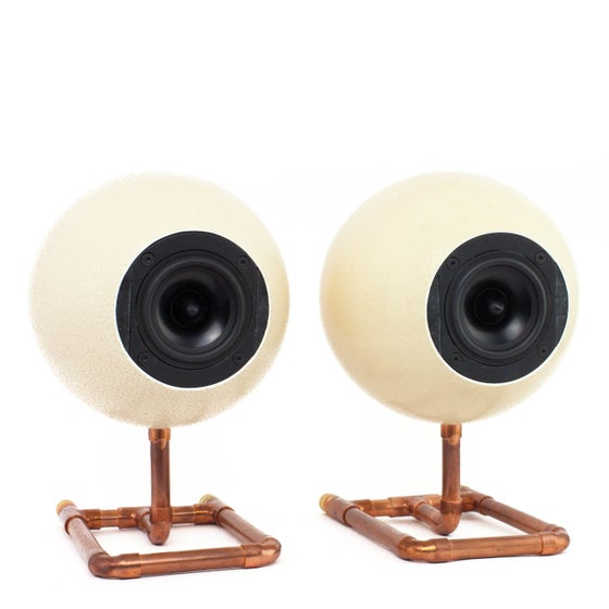 Image of Ostrich Egg Speaker Set on Copper Stand