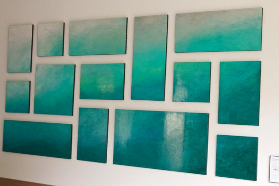 Image of 'ETHEREAL SEA' | Ombre Wall Art | Abstract Painting | Blue Wall Art | Original Painting for Sale