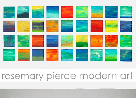 Image of 'COLOR BLENDS' | Painted Wood Wall Sculpture Installation Custom Art Installation