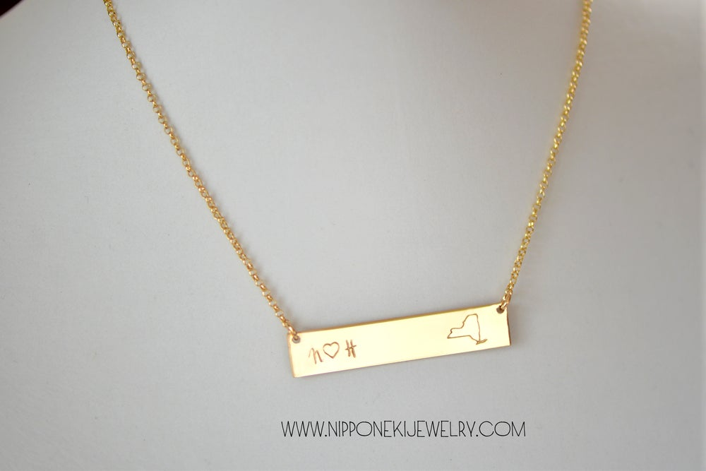 Image of State Bar Necklace - Heavy Bar Necklace - Nameplate Necklace - Couple's Necklce