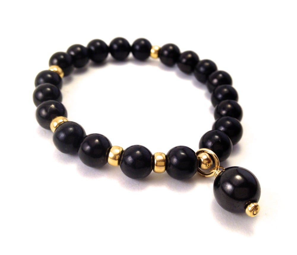 Image of All Shungite Infinity Wrist Mala Gold