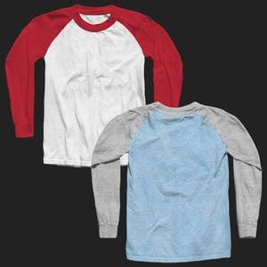 Image of 3/4 Sleeve Raglan Shirt Mockup