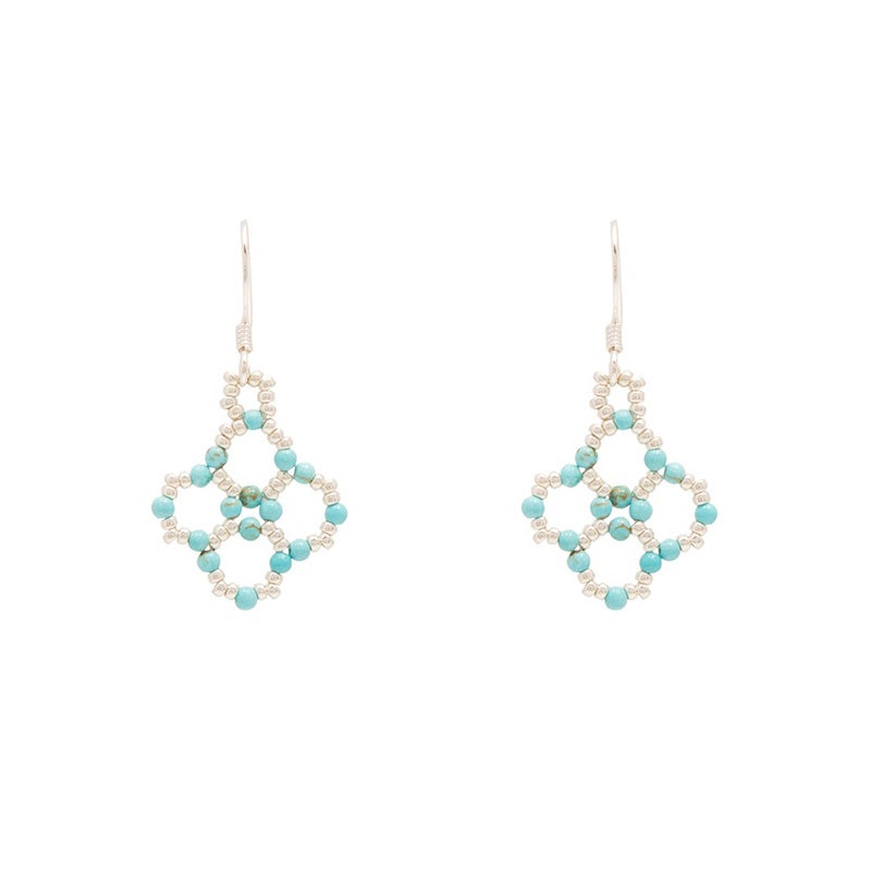 Image of Turquoise Clover Earrings Silver