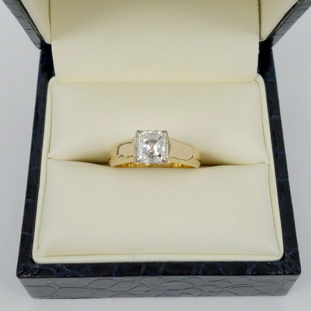 Image of 18ct yellow gold Asscher cut diamond engagement ring