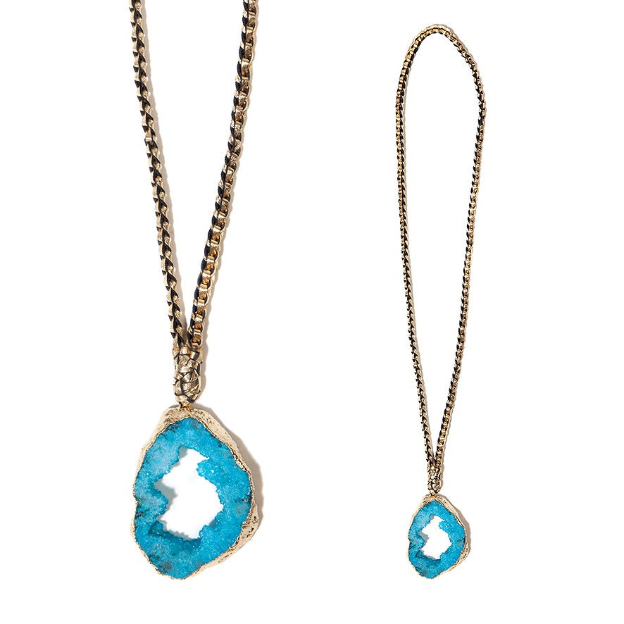"Image of Blue ""Crystal Magic"" & Leather Necklace"