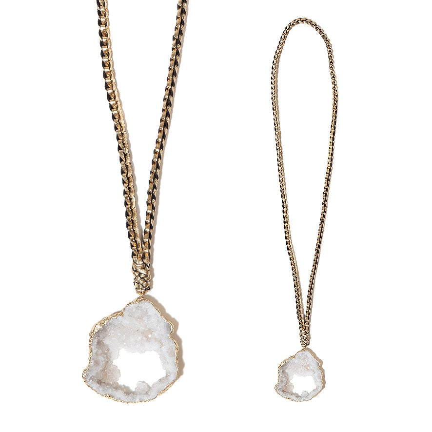 "Image of White ""Crystal Magic"" & Leather Necklace"
