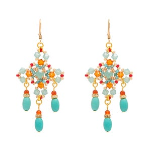 Image of Turquoise Cross Chandelier Earrings