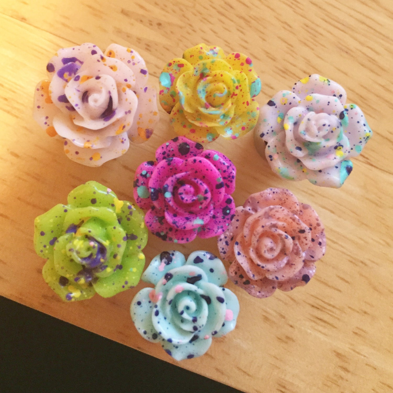 Image of Splatter Rose Plugs (sizes 0g-1 1/2)