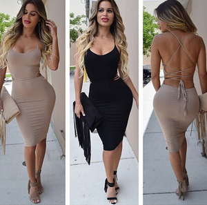 Image of Hot straps sexy backless dress