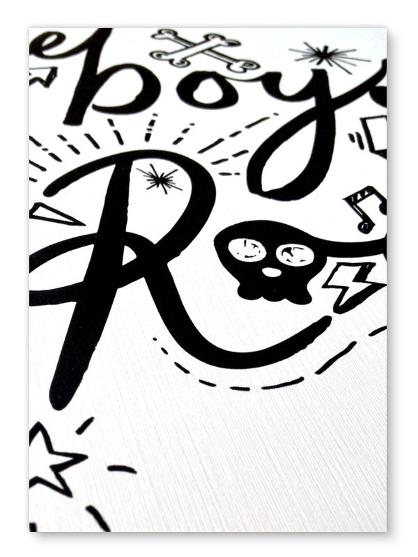 Image of Boys Rock art print - Black