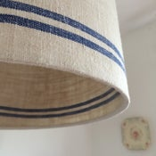 Image of Antique linen grain sack lampshades
