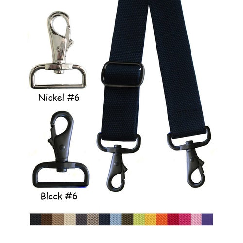 "Image of Cotton Canvas Webbing Strap - Adjustable - 1.5"" Wide - Choose Color & Length - Nickel/Black Hook #6"