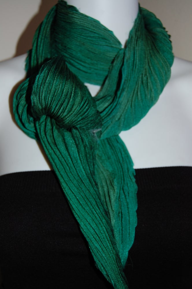 Image of Green Silk Shibori Scarf - Handpainted Silk Shibori