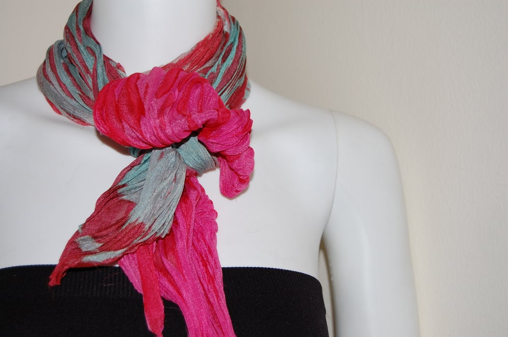 Image of Green & Pink Silk Shibori Scarf - Handpainted Silk Shibori