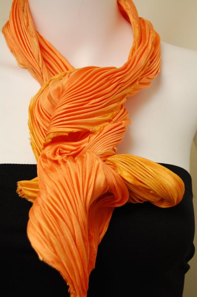 Image of Orange Yellow Silk Shibori Scarf - Handpainted Silk Shibori