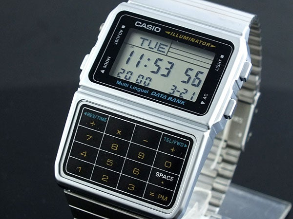Image of Silver Finish Casio Digital Calculator Watch with Databank
