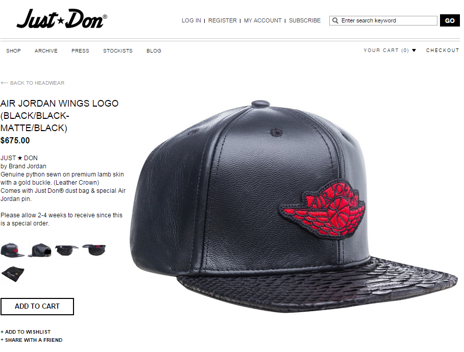 Image of JUST DON x JORDAN AIR WINGS LOGO (BLACK BLACK) Hat Snapback ... 9aad55d7f04c