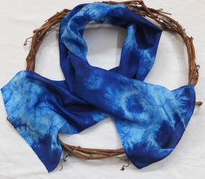 Image of True Blue - Habotai Silk Scarf