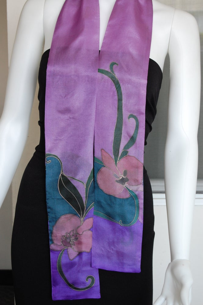 Image of Purple Skinny Silk Scarf - Handpainted Silk