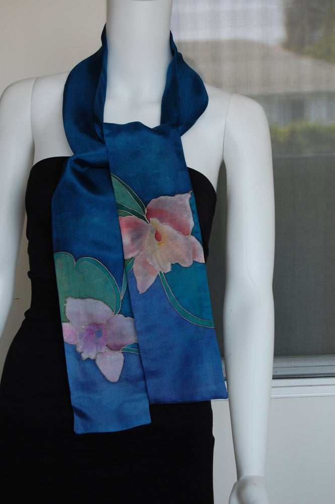 Image of Blue Skinny Silk Scarf - Handpainted Silk