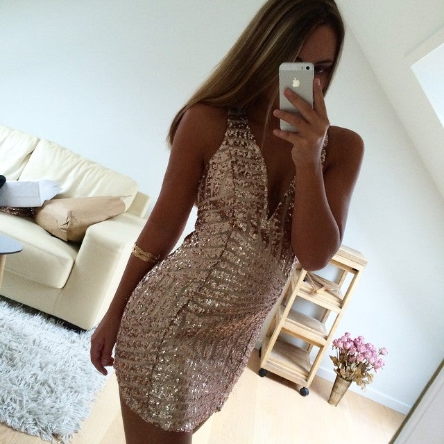 Image of nude sequin dress