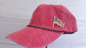 Image of Acid Red Baseball Hat with Crystal American Flag