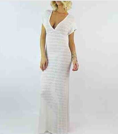 Image of White long crochet bodycon swimsuit cover up