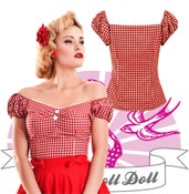 Image of Collectif - Sweetheart Gingham Dolores Top