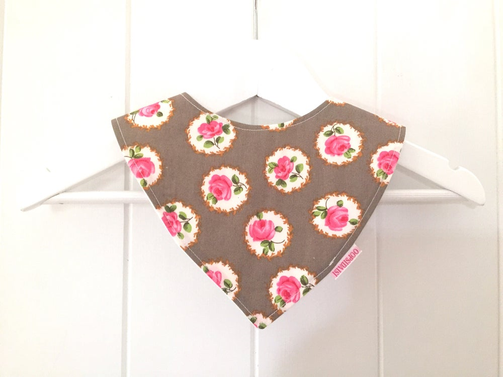 Image of Bandana Bib - Grey Rose
