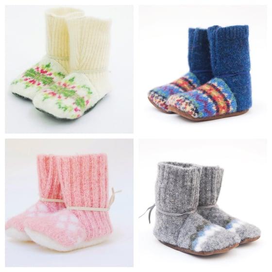 Image of Baby/Toddler Booties, repurposed wool