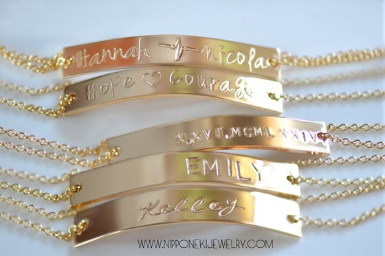 Image of Gold / Sterling Silver / Rose Gold Personalized Bar Bracelet - Namplate Bracelet