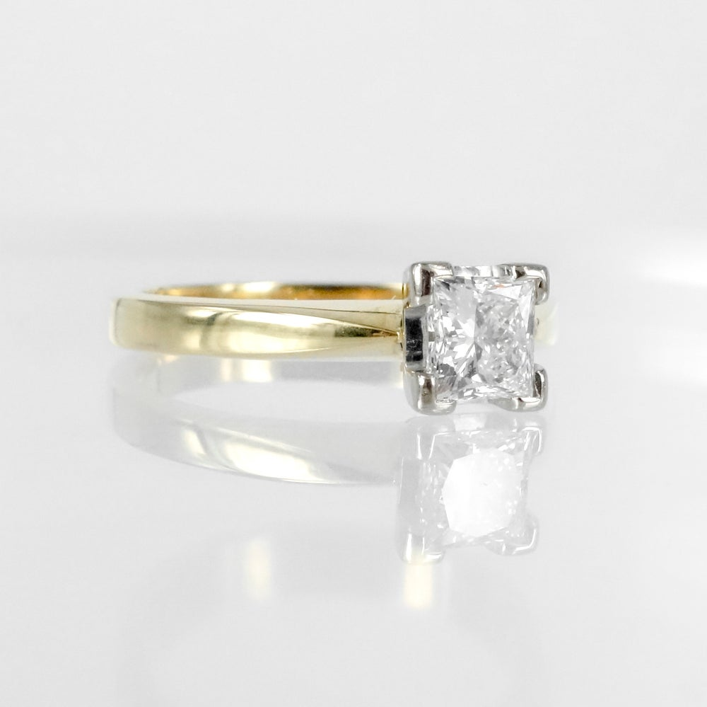 Image of 18ct yellow gold princess cut engagement ring