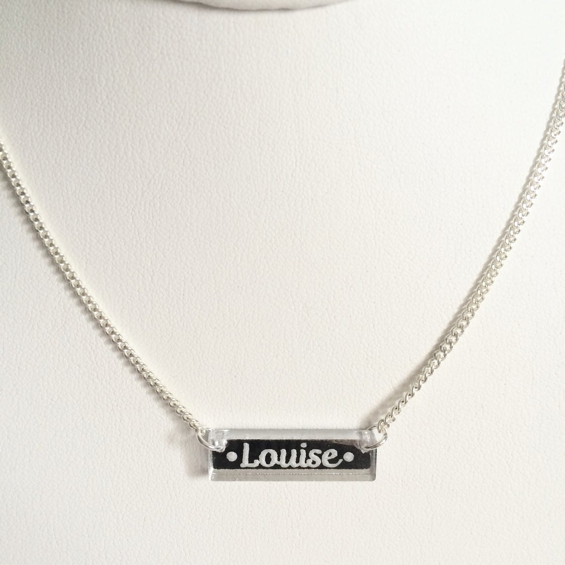Image of Custom CURSIVE SILVER BAR Acrylic Necklace