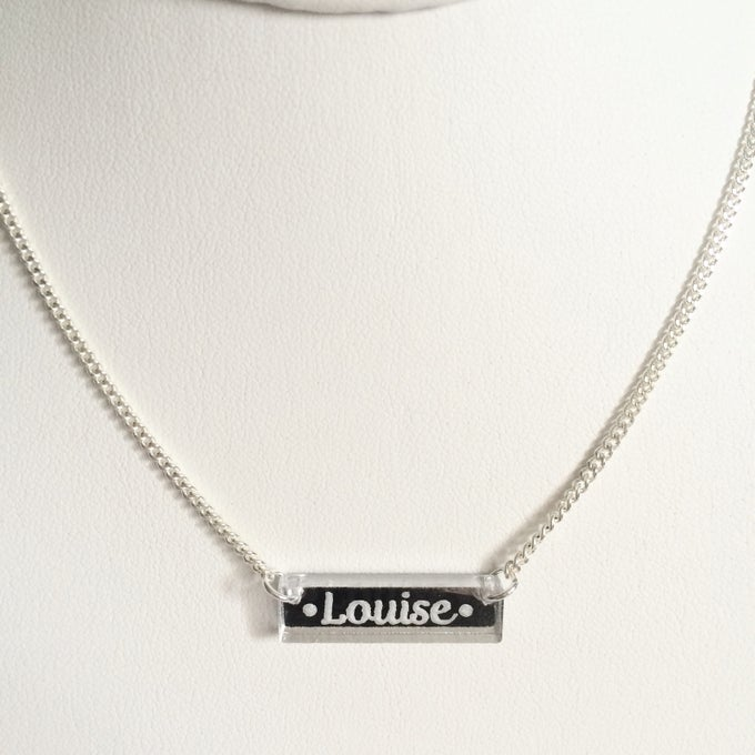 Image of Custom CURSIVE SILVER BAR Necklace