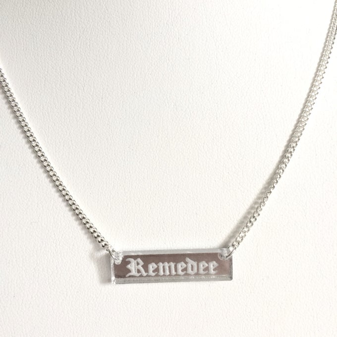 Image of Custom GOTHIC SILVER BAR Acrylic Necklace